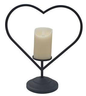 Laterne Metall schwarz Herz mit LED-Kerze Flackereffekt 34 cm hoch Kerzenhalter