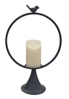 Laterne Metall schwarz rund mit Vogel und LED-Kerze Flackereffekt H 40 cm Deko