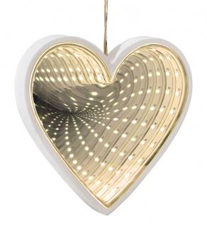 Deko Herz mit LED-Beleuchtung und Endlos-Spiegeleffekt 3D-Optik Fensterdeko