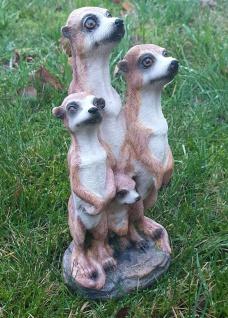 Erdmännchen 4er Paar Scharrtier Skulptur Surikate Statue Figur - Vorschau 3