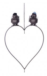 Meisenknödelhalter 2 Vögel Herz Metall Vogel-Futterstation für 2 Meisenknödel