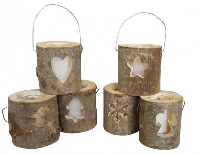 Baumstamm Deko Laterne als Windlicht inkl. Glaseinsatz mit Echtwachskerze