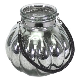 Windlicht XL mit Mico-LED-Lichterkette Mercury Glas Bauernsilber Vase mit Henkel