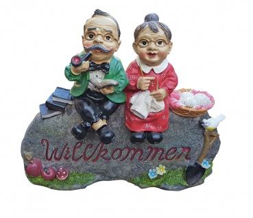 Oma und Opa Willkommen Schild Gartendekoration Deko Figur für Innen und Außen