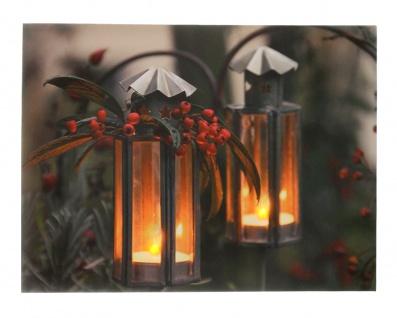 Leinwandbild mit LED-Beleuchtung 30 x 40 cm Wandbild mit 2 Laternen Leuchtbild LED-Bild