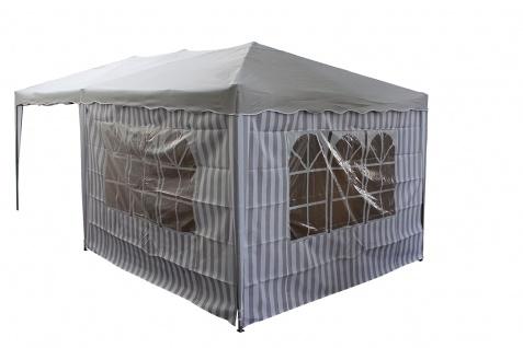 Seitenteile 2 Stück á 3 m mit je 1 Fenster grau-weiß für Faltpavillon 3 x 3 m