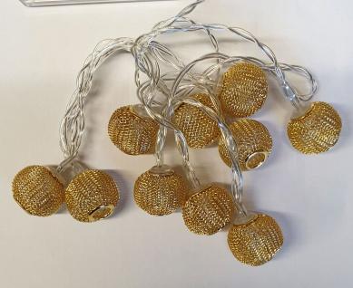 LED-Lichterkette mit 10 Kugeln in Goldoptik warmweiß Batteriebetrieb NEU - Vorschau 3