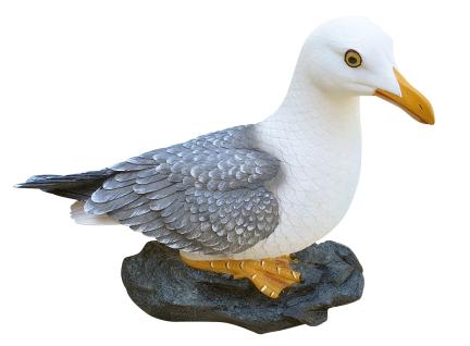 Deko-Figur Möwe auf Stein maritime Gardendeko Holzschnitt-Optik Tierfigur groß