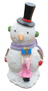 Schneemann Dekofigur mit Winterkind und Geschenk Weihnachtsfigur Indoor Outdoor