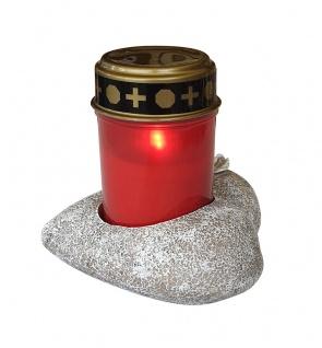 Grablichthalter Herz mit Grablicht rot und Batterien Ewiges Licht Flackereffekt - Vorschau 2