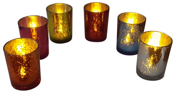 6er Set Teelichthalter Mercury Glas inkl. LED-Teelichter Kerzenhalter Vintage