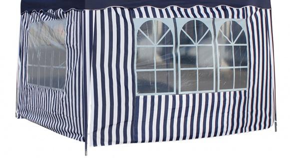 Seitenteile 2 Stück á 3 m mit je 1 Fenster blau-weiß für Faltpavillon 3 x 3 m