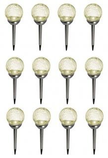 LED Solarleuchten 12 Stück Bruchglas Edelstahl Solarlampe Kugel On-Offschalter