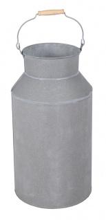 Milchkanne groß mit Henkel 57 cm Deko-Kanne Metallkanne mit Griff Vase Schirmständer Regenschirmständer grau