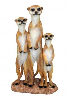 Erdmännchen 3er Familie Scharrtier Skulptur Surikate Statue Gartenfigur