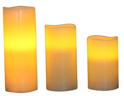 3er Set LED Kerze Echtwachs weiß, mit Luftsensor, 3 versch. Größen, inkl. Batterien