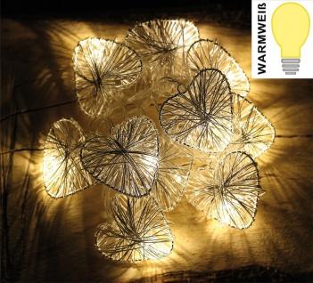 LED-Lichterkette mit 10 Herzen Silber, warmweiß, Batteriebetrieb, Tischdeko