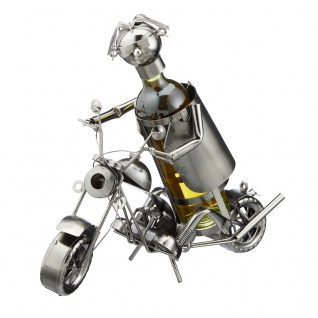 Flaschenhalter Weinflaschenhalter Metall Motorradfahrer Figur Skulptur Deko