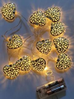 LED-Lichterkette mit 12 Herzen Silber, warmweiß, Batteriebetrieb, Lichterketten