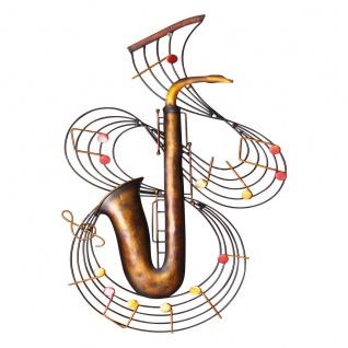 Wandbild Saxophon, Metall, Wanddeko, Dekoration, Wandbehang, Musikinstrument