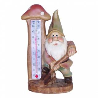 Dekofigur Zwerg mit Thermometer und Schaufel, Gartenzwerg, Gartenfigur, Skulptur