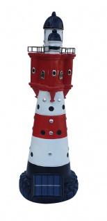 Leuchtturm Roter Sand mit Solar Beleuchtung 47 cm Gartendeko Teichdeko Dekofigur