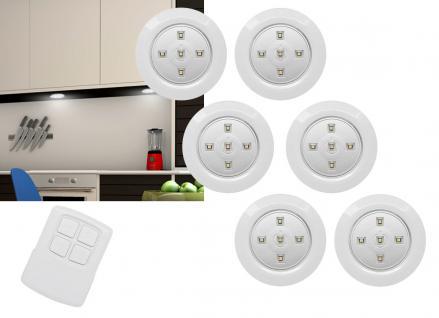 6er Set LED Unterbauleuchten Batteriebetrieb mit Fernbedienung und Touchfunktion