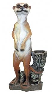 XXL Erdmännchen mit Pflanztopf Pflanzkübel Gartenfigur Skulptur Tierfigur