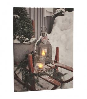 Leinwandbild mit LED-Beleuchtung 30 x 40 cm Wandbild Vintage mit Schlitten