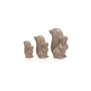 Eichhörnchen 3er Set Dekofiguren Hochglanz Keramik Tierfiguren Tischdeko