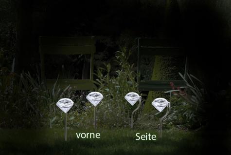 4er Set LED Solarlampe Kristall, Solarleuchte mit Erdspieß, Deko, Gartendeko - Vorschau 3