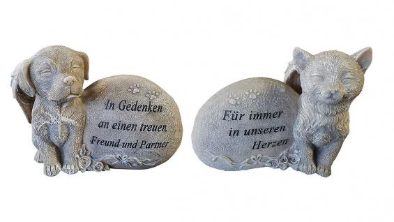 Grabdeko für Hund oder Katze mit Flügel Spruch und Rosen Grabschmuck Gedenkstein