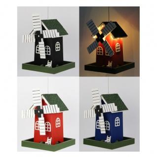 Vogelfutterhaus Windmühle mit Micro-LED-Lichterkette und Timer, versch. Farben