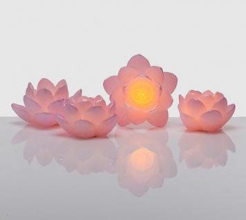Schönes 4-teiliges Lotusblütenset Tischdekoration rosa LED Batterie Wachs