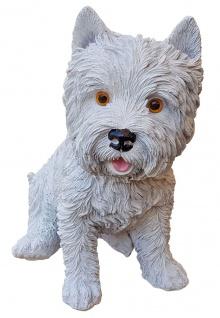 Deko-Figur West Highland Terrier weiß sitzend Hund Westie Gartendeko Tierfigur