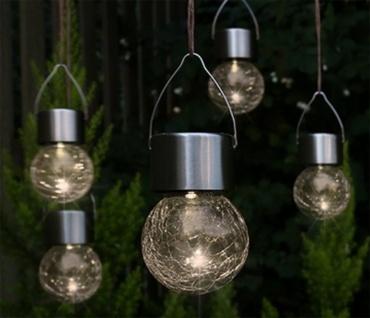 LED Hänge-Solarleuchten 5 Stück Kristallglas Solarlampen hängend Gartenkugel