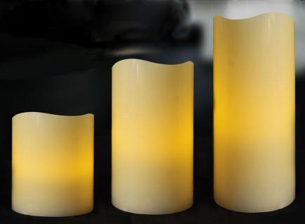 LED Kerzen 3 Stück Echtwachs creme flammenlos mit Timer In-/Outdoor Batterie