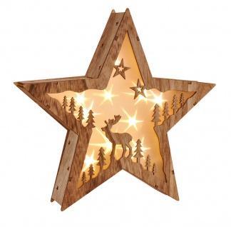 LED Holzstern Weihnachten Hologrammfolie 3D-Effekt Weihnachtsstern Lichterkette