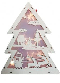 LED Holz Tannenbaum mit Hologramm-Folie 3D-Effekt LED-Lichterkette und Timer