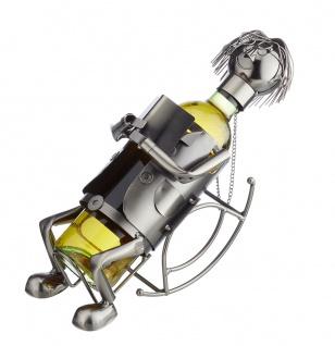 Flaschenhalter Weinflaschenhalter Metall Skulptur Deko silber Schaukelstuhl