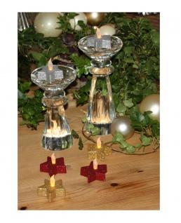 LED Teelichter Stern 6er Set Glitzer Weihnachtsdekoration rot silber gold - Vorschau 2