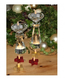 LED Teelichter Stern 6er Set Glitzer Weihnachtsdekoration Tischdeko rot silber gold Flackereffekt flammenlos batteriebetrieben