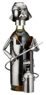 Flaschenhalter Weinflaschenhalter Metall Feuerwehrmann Figur Deko Skulptur