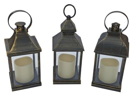 Laternen-Set 3 Stück schwarz-kupfer LED-Kerzen Flackereffekt batteriebetrieben