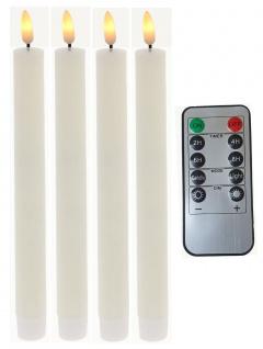 LED Stabkerzen 4 Stück weiß flammenlos Timer-Funktion und Fernbedienung