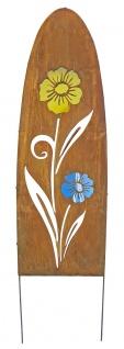Gartenschild Metall oval Rostoptik Blumenmotiv Dekostele Gartenstecker Motivwahl - Vorschau 5