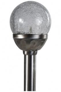 8er Set Kristallglas Premium Solarlampe Leuchte LED Edelstahl Gartenkugel - Vorschau 3