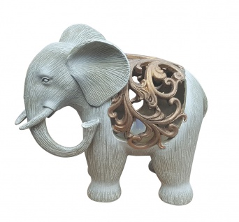 Dekofigur Elefant beleuchtet mit LED-Teelicht Afrika Skulptur Elefantenfigur