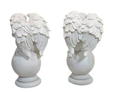 Engel mit Flügel 2 Stück Grabengel auf Kugel weiß Grabschmuck Skulptur Putte - Vorschau 3
