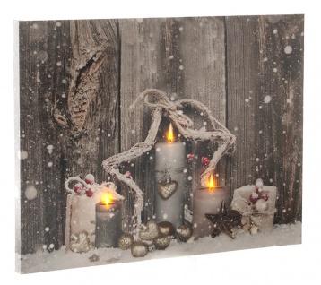 Leinwandbild mit LED-Beleuchtung 30 x 40 cm Wandbild Weihnachtskerzen Leuchtbild LED-Bild
